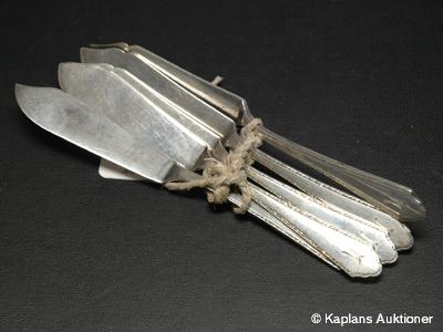 5 Fisk-knivar, graverade, 135mm, silver
